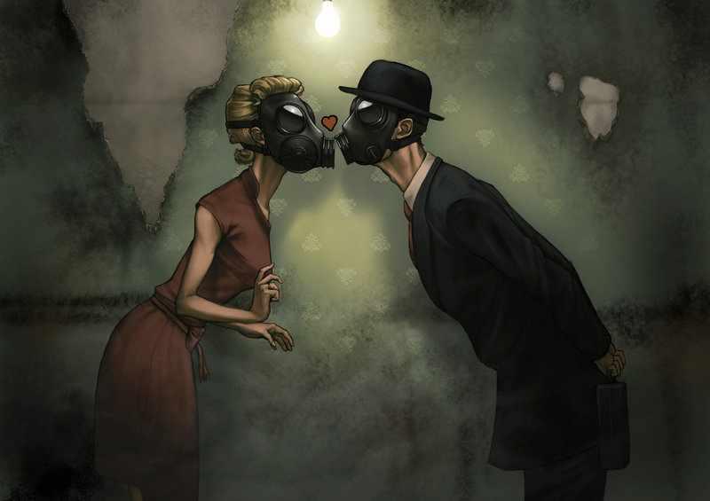 поцелуй в противогазе арт